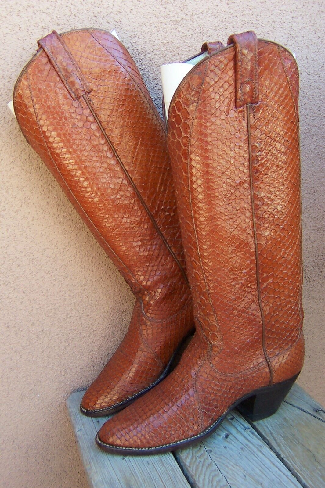 DAN POST Womens Cowboy Western Boots Exotic Full Boot Longneck Snakeskin Sz 6.5A