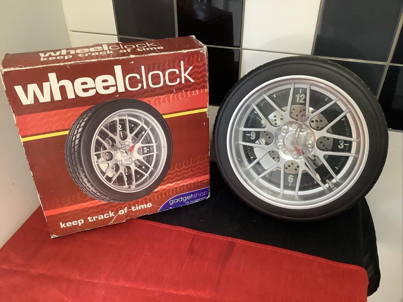 Large Cool Tyre Wall Clock, Luminous Wrench! Quirky! Different!!