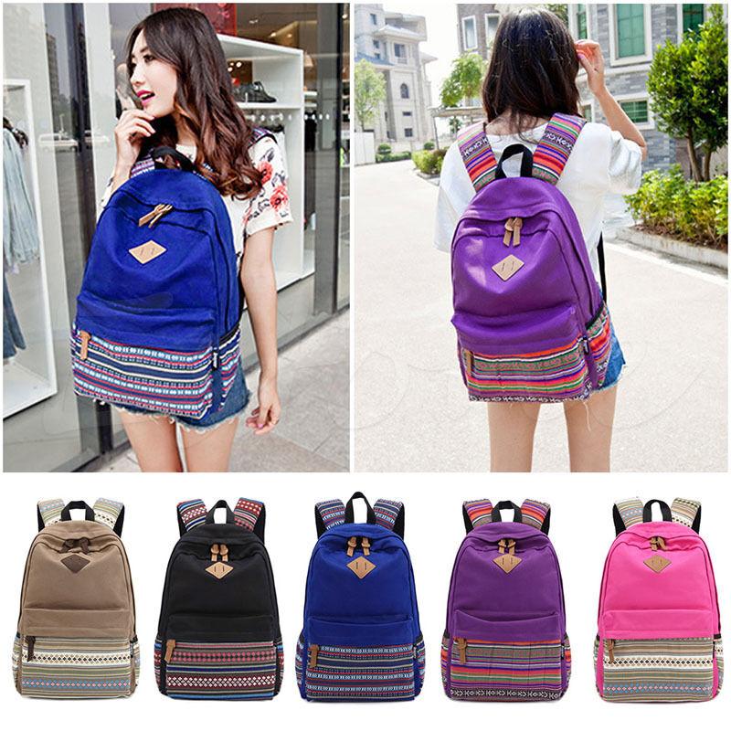 Boho Teen Girls Canvas Backpack Shoulder School Book Bag Tra
