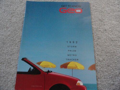 1992 Geo Storm Prizm Metro Tracker Sales Brochure