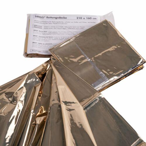SIRIUS Rettungsdecke 210 x 160 cm Silber Gold Notfall Decke Kälteschutz Folie