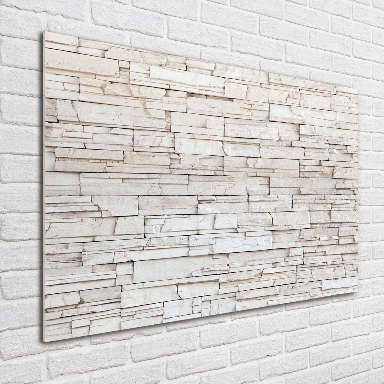 Glas-Bild Wandbilder Druck auf Glas 100x70 Deko Kunst Weiße Steinmauer