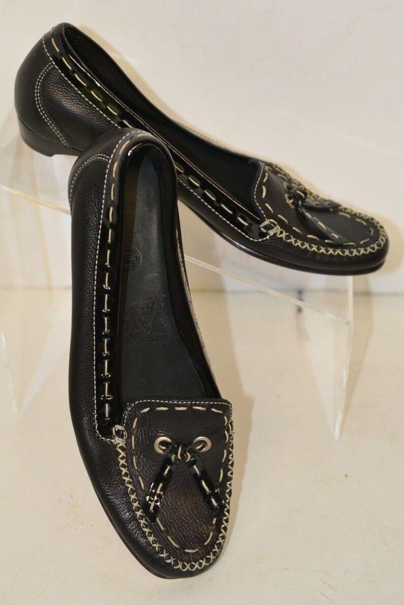 Cole Haan Sz 5.5 B Black&White Seams Leather Flats Low Heel Tassels Ties Patent