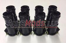 "Set of 8 1.0"" Tall Fuel Injector Top Hat Extender Black 14mm 14 camaro mustang"