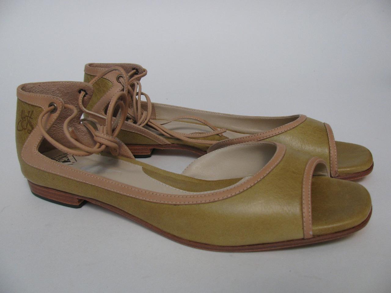 JOHN FLUEVOG RIVER GREEN LEATHER OPEN TOE ANKLE SANDALS9 TIE BALLET FLAT Schuhe SANDALS9 ANKLE f8a2cf