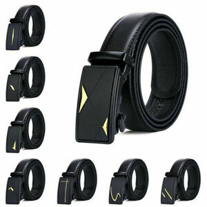 Celebrity-Mens-Black-Leather-Ratchet-Belt-Automatic-Buckle-Waistband-Strap-Waist