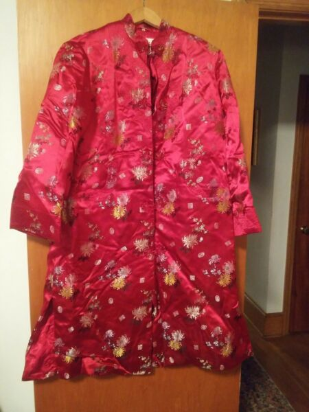 015 Vintage Peonia Marca Kimono Largo Bata Talla 42 Shangai Acolchado Pesado Una Gran Variedad De Modelos