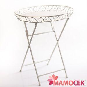 Tavolino Vassoio Pieghevole.Dettagli Su Tavolino Vassoio Pieghevole Ferro Bianco 60x44 Cucina Salotto Colazione Shabby