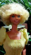 Barbie Doll 1966 blonde flip curls hair style yellow bohemian dress vintage EUC