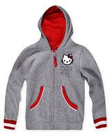 Girls Hello Kitty Hoodie New Kids Zip Sweatshirt Grey Jumper Top Ages 2-14 Years