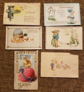lot-6-vintage-EASTER-POST-CARDS-postcard-bunny-egg-basket-1912-1916-1-cent-stamp