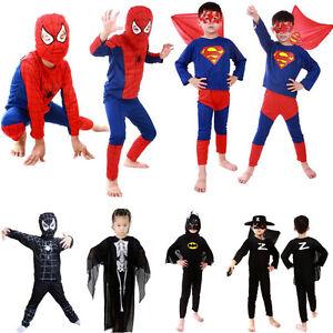 Kids Boys Spiderman Batmen Superman Costume Party Cosplay Halloween Fancy Dress