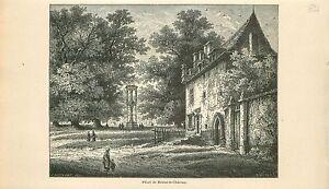 Pilori-de-Braine-le-Chateau-Brabant-wallon-GRAVURE-ANTIQUE-OLD-PRINT-1880