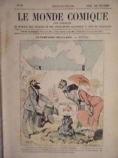 LE MONDE COMIQUE N° 92 VERS 1880 GRAVURE COULEUR DE ROBIDA LA CAMPAGNE CELLULAIR
