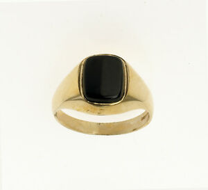 Onyx Ring Men's Solid Gold Engagement Ring Cushion Signet ...  Onyx