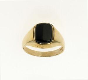 Onyx-Ring-Men-039-s-Solid-Gold-Engagement-Ring-Cushion-Signet-Engagement-Wedding