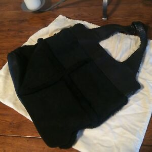 Shopper Grande vitello Ugg Borsa in scamosciata pelle di Tote Bag nera vera c7vBv1R