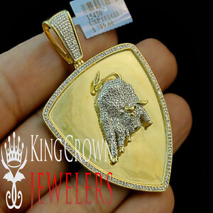 image is loading 10k yellow gold finish real diamond medallion lamborghini