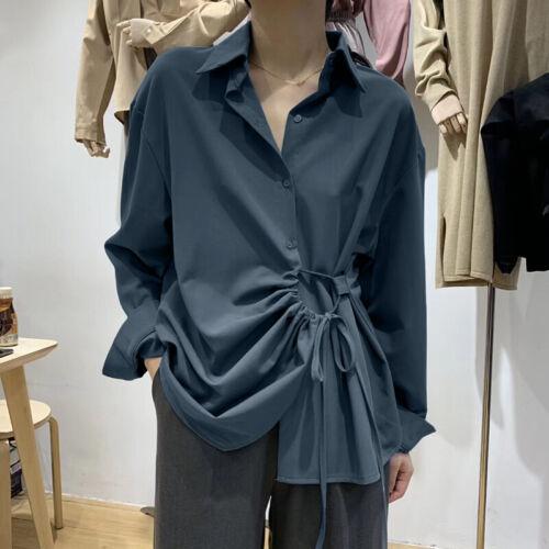 Women Buttons Down Casual Long Shirt Tops Lapel Loose Tunics Blouse Plus Tops