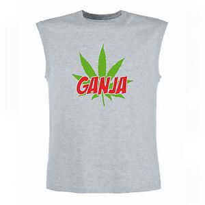 Art-T-shirt-Magletta-Senza-Maniche-Ganja-Uomo-Man-Grigio