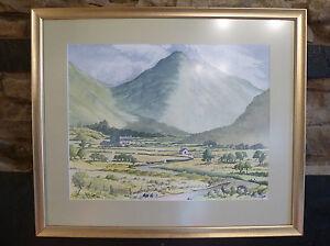 WATERCOLOUR-PAINTING-Scottish-Highlands-Pennines-Veduta-ER-Gibson-ART-1996
