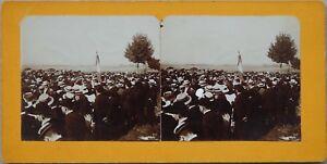 Cerimonia-Procession-Francia-Foto-Stereo-PL47-Vintage-Citrato-c1900