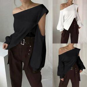 Summer Women Baggy One Shoulder Blouse Puff Sleeve Holiday Top Leopard Shirt Tee