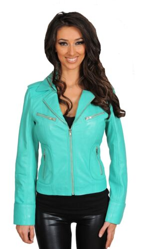 Da Donna Turchese Vera Pelle Da Motociclista giacca designer italiano Slim Fit con cerniera cappotto