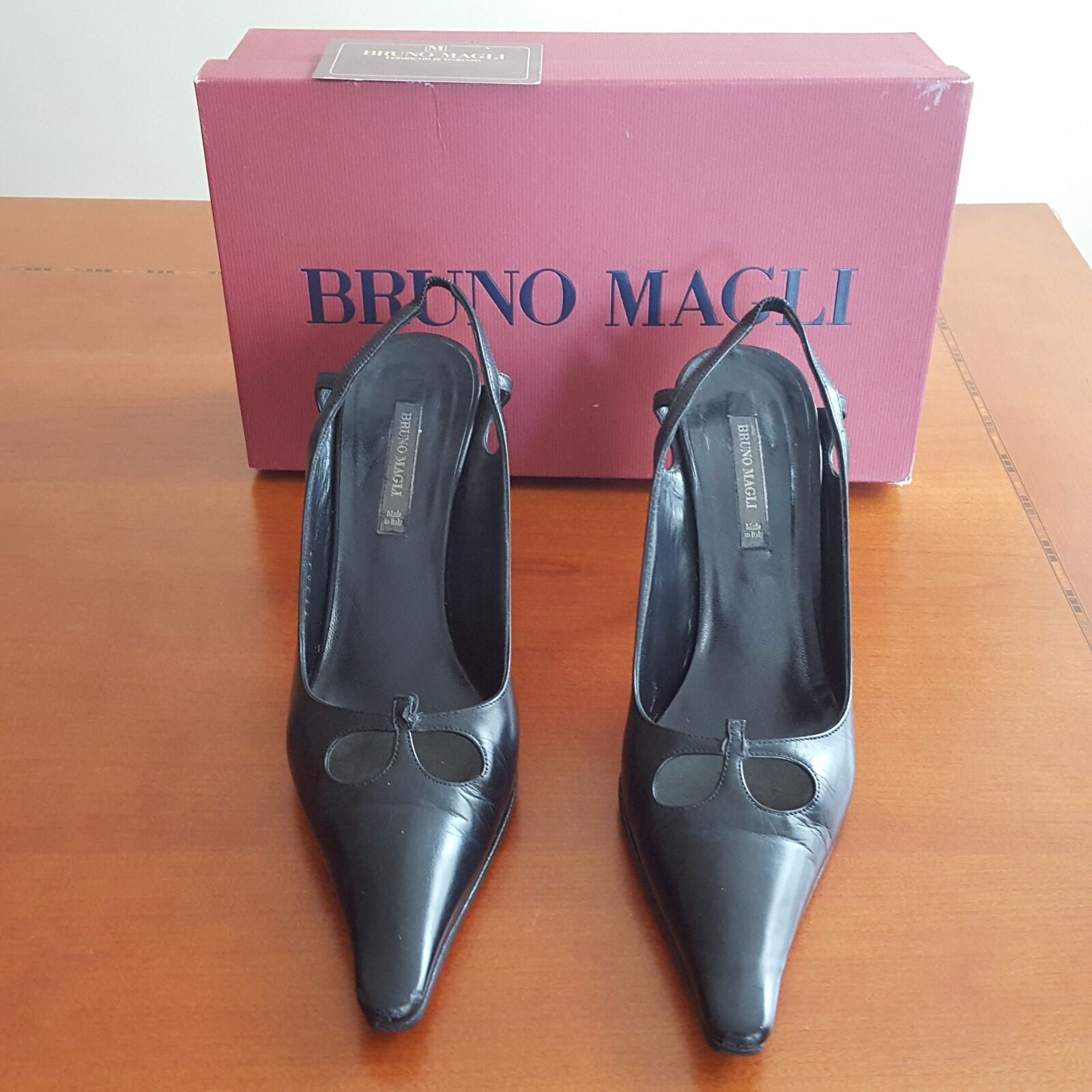 BRUNO MAGLI WOMEN SLINGBACK (6 BLACK POINTY NOSE LEATHER HEELS SIZE 36 (6 SLINGBACK US) MADE b4210b