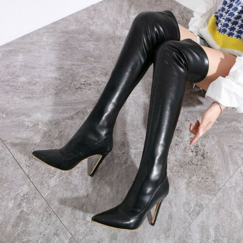 Women/'s Stretchy Over Knee Boots Thigh High Heels Stiletto Heel Shoes Clubwear