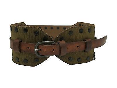 Cintura In Pelle Diesel Milibely Ragazze Donna Moda Verde-marrone Nuovo