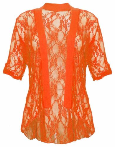 NUOVO Donna Taglie Forti due pulsante Turn Up pizzo floreale Cardigan 14-28