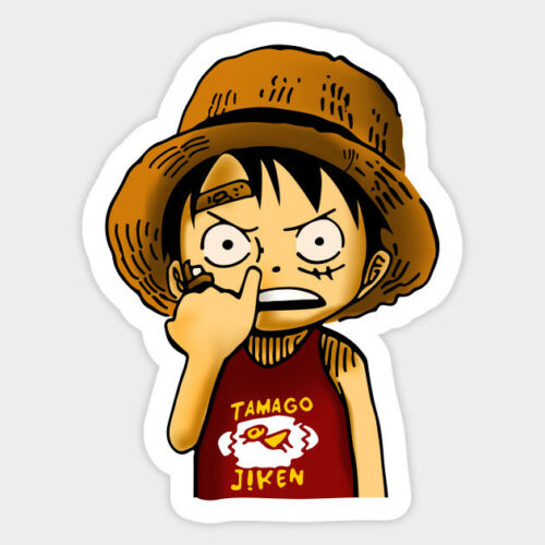 One Piece Anime Luffy Childhood Vinyl Wall Decal Room Decor Sticker Nose Picking