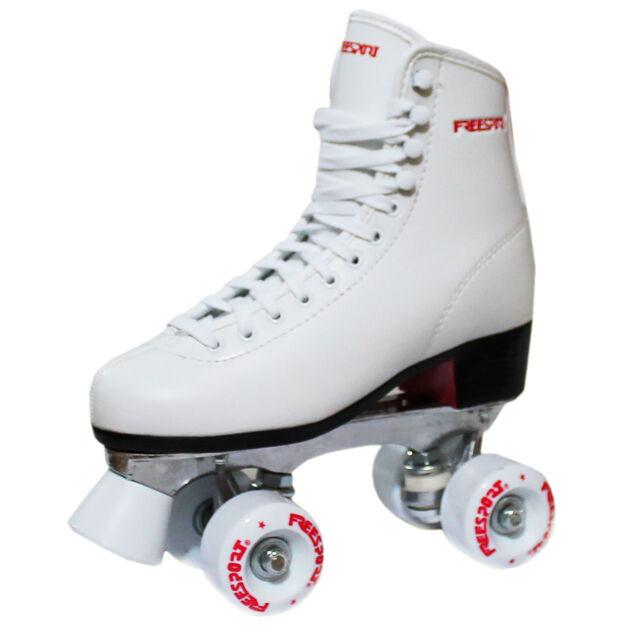 New Freesport Classic Quad roller skates kids Boot White Size 1