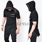 Mesh Shoulder Long Length Mens Side Zip Black Hoodie Zipper Hood Tee Guylook