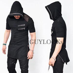 Mesh shoulder long length mens side zip black hoodie zipper hood tee