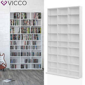 vicco cd dvd bluray regal medienregal standregal regalwand b cherregal wei ebay. Black Bedroom Furniture Sets. Home Design Ideas