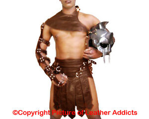 Mens-Roman-Gladiator-Kilt-BROWN-Real-Cow-Leather-Set-LARP