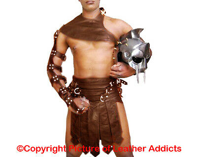 BROWN Real Cow Leather Mens Roman Gladiator Kilt Set LARP - (K3-BRW)