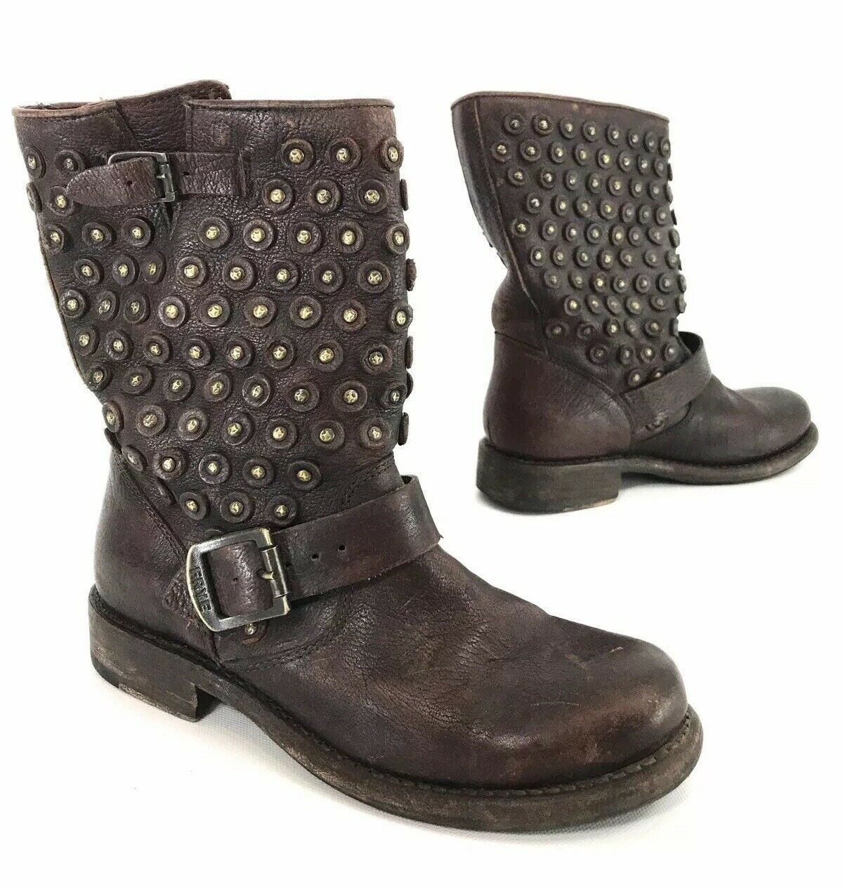 Frye Womens Jenna Short Disc Biker Boots Dark Brown Distressed Leather Size 6