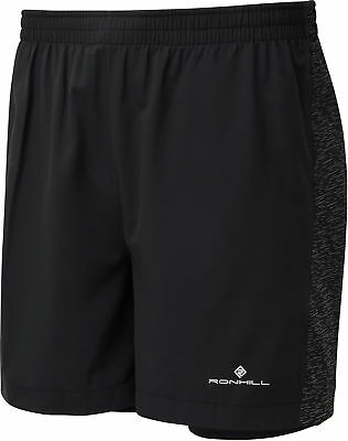 Ronhill Momentum Twin Afterlight 2 In 1 Mens Running Shorts - Black