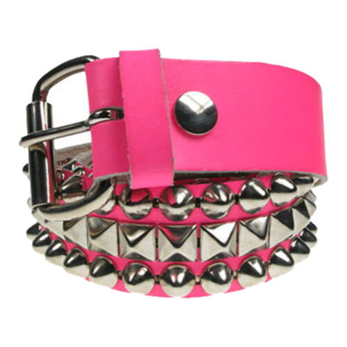 38mm Black Pink Mix Dome Conical Small Pyramid Real Leather Belts Made In UK