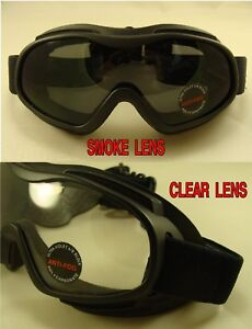 025cbe7c0d9 MOTORCYCLE GOGGLES FIT OVER GLASSES SMOKE OR CLEAR LENS OPTIONAL ...