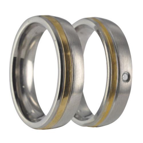 2 x alianza pareja de acero inoxidable bicolor con grabado 40055