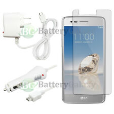 Micro USB Wall+Car Charger+Clear HD Screen Shield for Android LG Aristo LV3