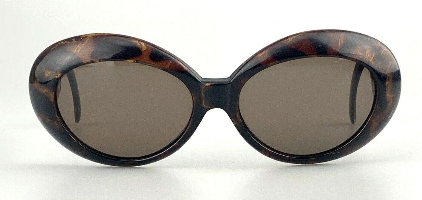 FENDI Vintage Sunglasses Oval Col. 014 Brown Oversized Logo Tortoise RARE