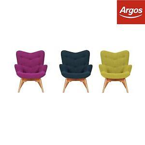 Hygena Angel Hardwood Frame Fabric Armchair Chair Blue