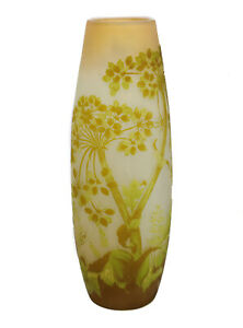 Tall-Galle-Light-Green-amp-Yellow-Over-Clear-Art-Glass-Cameo-Vase-19th-C