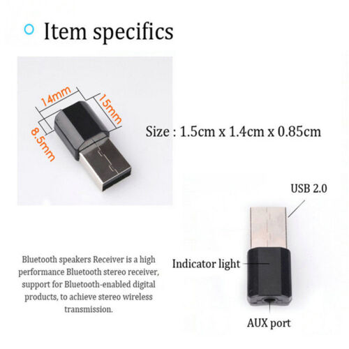 Mini USB Wireless Bluetooth 3.5mm AUX Audio Stereo MusicCarsReceiversAdaptersTDO