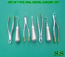 SET OF 7 PCS ORAL DENTAL SURGERY KIT INSTRUMENTS W/ GOLD HANDLE FOR ALL PURPOSE
